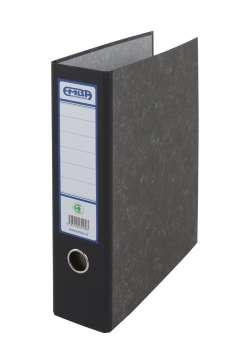 Archivační kapsový pořadač Emba - A4, kartonový, černý hřbet 7,5 cm, mramorovaný