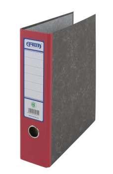 Archivační kapsový pořadač Emba - A4, kartonový, červený hřbet 7,5 cm, mramorovaný
