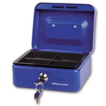 Pokladna na peníze Office Depot - plechová, mini, modrá
