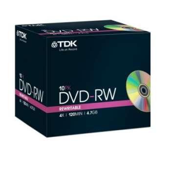 DVD-RW TDK, slim box 10 ks