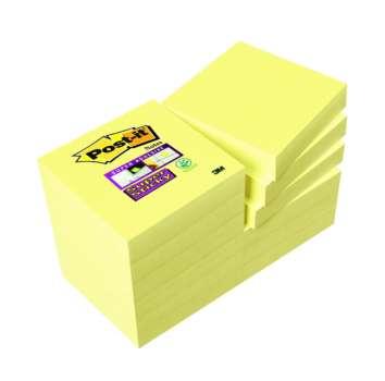 Poznámkové samolepicí bločky Post-it Super Sticky - žluté, 5,1 x 5,1 cm, 12 ks
