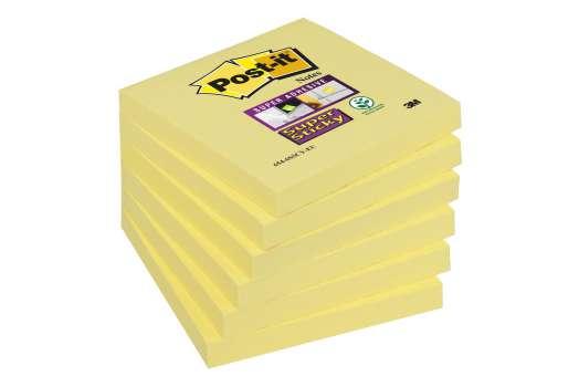 Poznámkové samolepicí bločky Post-it Super Sticky - žluté, 7,6 x 7,6 cm, 6 ks
