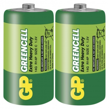 Baterie GP Greencell 1,5 V, R14, typ C, 2 ks