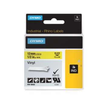 Páska Dymo Rhino - žlutá, šířka 12 mm, návin 5,5 m, černé písmo