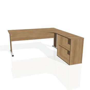 Psací stůl Hobis PROXY PE 1800 H levý, višeň/višeň
