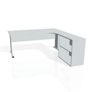 Psací stůl Hobis PROXY PE 1800 H levý, šedá/šedá