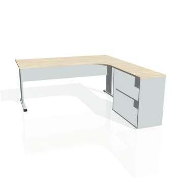 Psací stůl Hobis PROXY PE 1800 H levý, akát/šedá