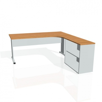 Psací stůl Hobis PROXY PE 1800 H levý, olše/šedá