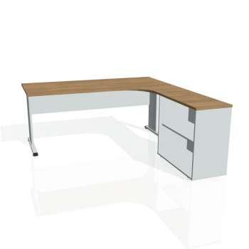 Psací stůl Hobis PROXY PE 1800 H levý, višeň/šedá