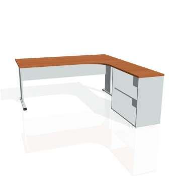 Psací stůl Hobis PROXY PE 1800 H levý, třešeň/šedá