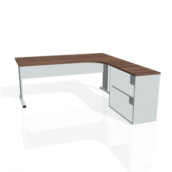 Psací stůl Hobis PROXY PE 1800 H levý, ořech/šedá