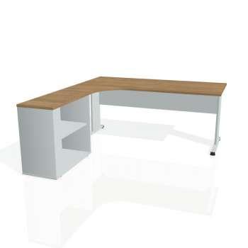 Psací stůl Hobis PROXY PE 1800 H pravý, višeň/šedá