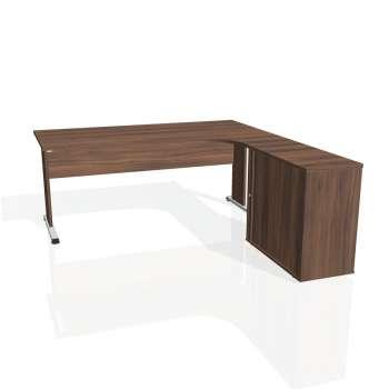 Psací stůl Hobis PROXY PE 1800 HR levý, ořech/ořech