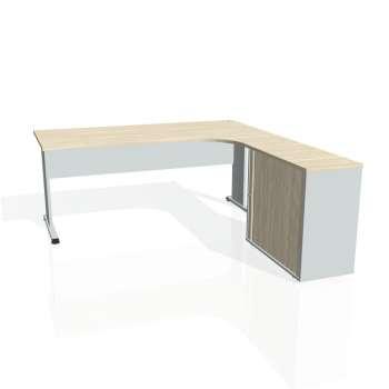 Psací stůl Hobis PROXY PE 1800 HR levý, akát/šedá