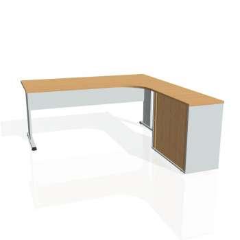 Psací stůl Hobis PROXY PE 1800 HR levý, buk/šedá