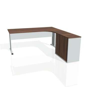 Psací stůl Hobis PROXY PE 1800 HR levý, ořech/šedá