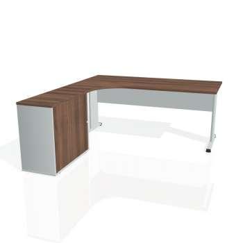 Psací stůl Hobis PROXY PE 1800 HR pravý, ořech/šedá