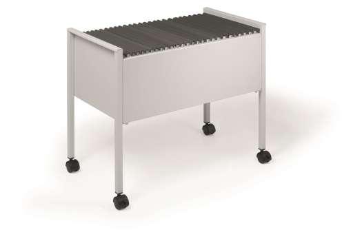 Pojízdný vozík na závěsné desky Durable Economy - kovový, světle šedý