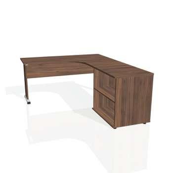 Psací stůl Hobis PROXY PE 60 H levý, ořech/ořech