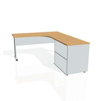 Psací stůl Hobis PROXY PE 60 H levý, buk/šedá