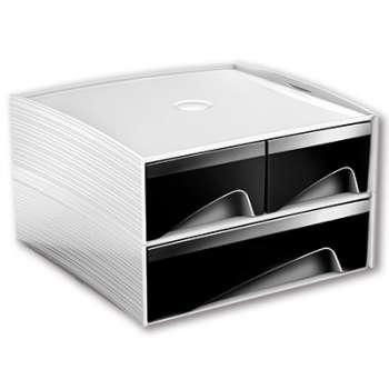 Zásuvkový box CEP My Cube - plastový, 3 zásuvky, bílá /černá