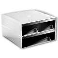 Zásuvkový box CEP My Cube - plastový, 3 zásuvky, bílý/černý