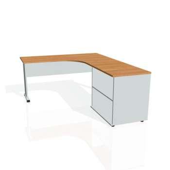 Psací stůl Hobis PROXY PE 60 H levý, olše/šedá