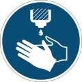 """Etiketa  """"Použijte dezinfekci rukou"""" - výstražná značka, snímatelná,  430 mm, modrá"""