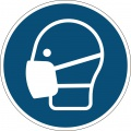 """Etiketa """"Používejte roušku"""" - výstražná značka, snímatelná,  430 mm, modrá"""