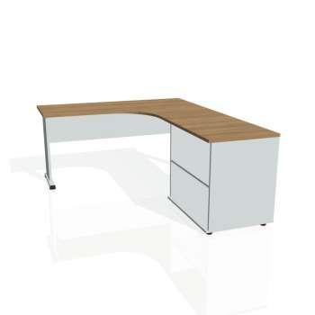 Psací stůl Hobis PROXY PE 60 H levý, višeň/šedá