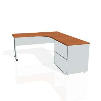 Psací stůl Hobis PROXY PE 60 H levý, třešeň/šedá