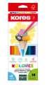 Pastelky Kores Kolores trojhranné + ořezávátko - 12 barev