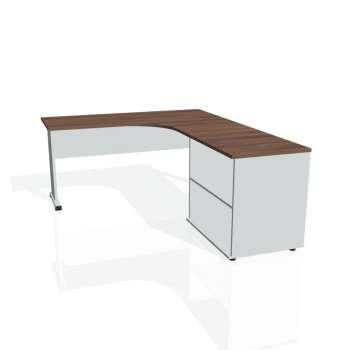 Psací stůl Hobis PROXY PE 60 H levý, ořech/šedá