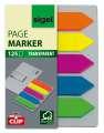 Samolepicí záložky Sigel ve tvaru šipky - transparentní s  klipem, 50 x 12 mm, mix barev, 5 ks