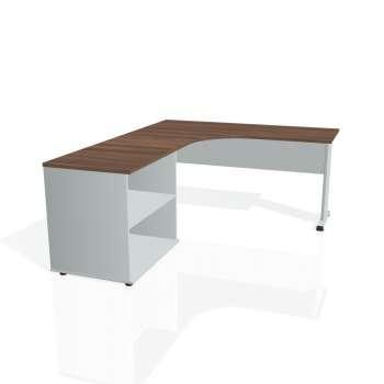 Psací stůl Hobis PROXY PE 60 H pravý, ořech/šedá