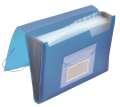 Aktovka s přihr.Q-Connect - A4, transparentní modrá, 6 přihrádek