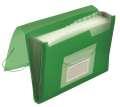 Aktovka s přihr.Q-Connect - A4, transparentní zelená, 6 přihrádek
