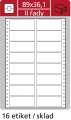 Samolepicí tabelační etikety SK Label - dvouřadé, 89,0 x 36,1 mm, 8 000 ks