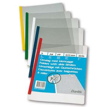 Desky se hřbetní spínací  lištou Bantex - A4, mix barev, 5 ks