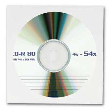 Papírové obálky na CD/DVD - s okénkem, bílé, 100 kusů