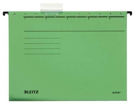 Desky závěsné papírové LEITZ Alpha zelené, 25 ks