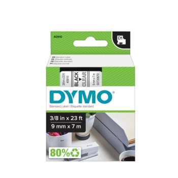 Páska Dymo D1 šířka 9 mm/návin 7m, černá / průhledná