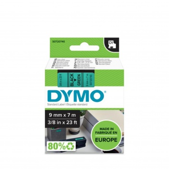 Páska Dymo D1 šířka 9 mm/návin 7m, černá / zelená