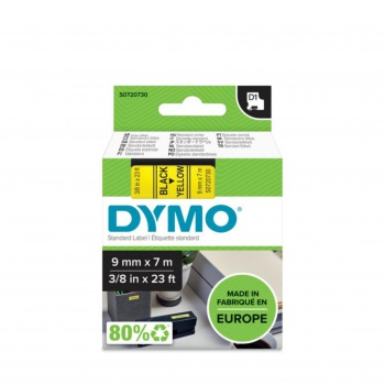 Páska Dymo D1 šířka 9 mm/návin 7m, černá / žlutá