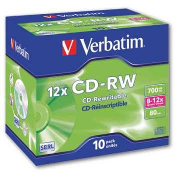 CD-RW Verbatim - přepisovatelná, rychlost 4x - 12x, standard box, 10 ks