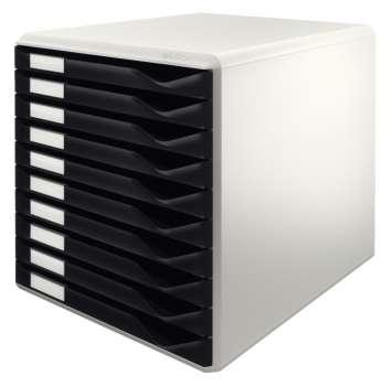 Box zásuvkový Leitz, 10 zásuvek, černá/šedá
