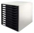 Zásuvkový box Leitz - 10 zásuvek, černý/šedý