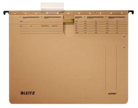 Závěsné desky s rychlovazačem Leitz Alpha - hnědé, 25 ks