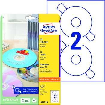 Samolepicí etikety na CD/DVD Avery ClassicSize - průměr 117 mm, 50 ks