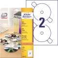Etikety na DVD Avery Zweckform - bílé, průměr 117 mm, 40 ks